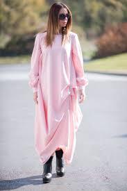 elegant baby pink maxi dress wool cashmere dress loose fit