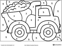 color number truck free coloring worksheets learning