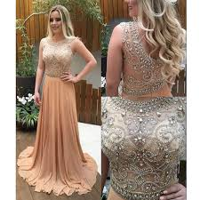 see through beaded prom dress chagne prom dresses custom