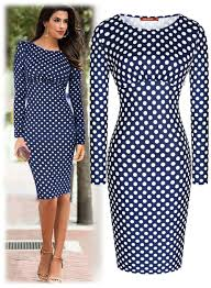 fashion womens ladies bussiness polka dot long sleeve bodycon