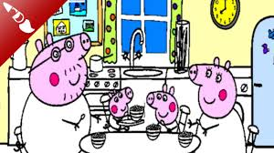 peppa pig coloring page peppa pig with family kitchen