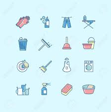 laundry line design washing cleaning laundry line color vector icons laundry icon