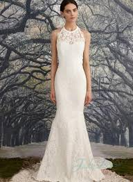high neck halter wedding dress illusion lace halter neck backless sheath wedding dress