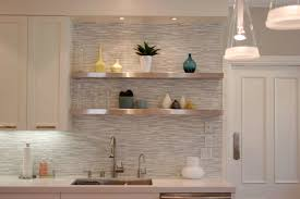 Kitchen Tiles Backsplash Pictures White Horizontal Tile Backsplash With Creative Wooden Shelving And