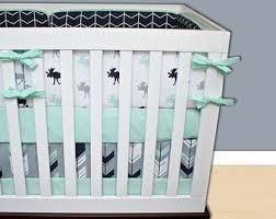 moose crib bedding etsy