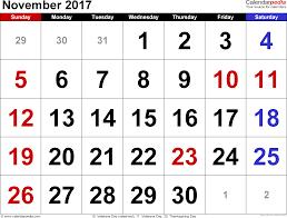 november 2017 calendars for word excel pdf