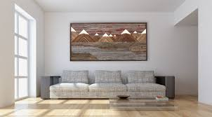 wood wall design custom wood wall art of a fiery sunset mountain landscape