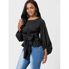 belted blouse black l belted puff sleeve blouse rosegal com