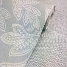 crown calico leaf duck egg wallpaper m1151