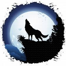 wolf howling at blue moon by bluedarkat graphicriver