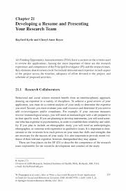 Resume Activities Section Developing A Resume And Presenting Your Research Team Springer