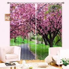 3d beautiful pink peach flowers and green grassland printed