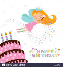 happy birthday card with cute fairy and cake with candles