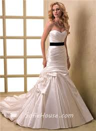 black sash a line sweetheart ruched satin wedding dress with detachable black