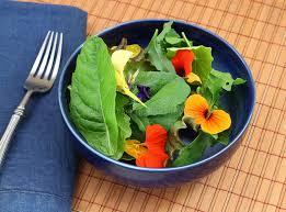 les fleurs comestibles en cuisine salade verte organique saine avec les fleurs comestibles photo stock