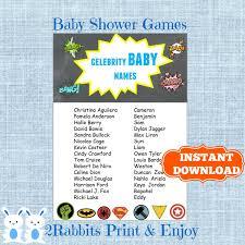 superhero baby shower celebrity baby names game celebrity name