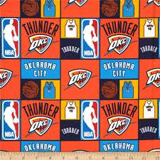 Okc Thunder Home Decor Nba Cotton Broadcloth Oklahoma City Thunder Multi Discount