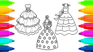 dresses coloring pages for girls how to paint with colored