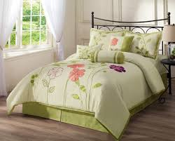 Mint Green Comforter White Green Bedding Set With Pink Purple Floral Pattern Placed On