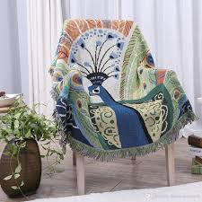 Sofa Blankets Throws 100 Pure Cotton Peacock Pattern Woven Throw Blanket Featuring