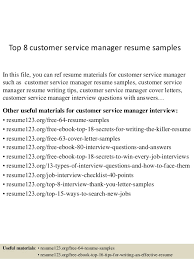 Sample Resume Of Customer Service Manager by Top 8 Customer Service Manager Resume Samples 1 638 Jpg Cb U003d1429930174