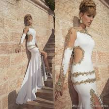 long sleeve prom dresses with bling bling gold beads crystals side