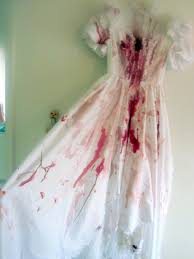 Bloody Costumes Halloween Bloody Horror Zombie Wedding Gown Puff Sleeves Zombie Bride