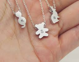 Personalized Cat Necklace Initial Necklace Tiny Animal Necklace Cat Bear Rabbit
