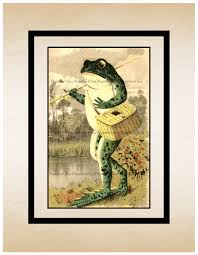 high resolution poster digital download vintage toad with fishing