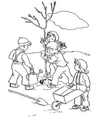 Group Of Childrens Plant A Tree On Arbor Day Coloring Pages Best Children S Tree Coloring Pages