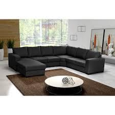 canape d angle avec grande meridienne grand canapé d angle 6 places oara avec méridienne tissu noir