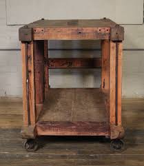 rolling kitchen islands rolling kitchen island table or cart rustic vintage wood metal