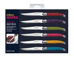 Coloured Kitchen Knives Set Craft Colourworks 6 Piece Steak Knife Set