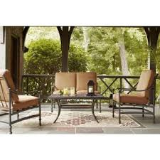 Patio Conversation Sets Under 300 Hampton Bay Niles Park 4 Piece Patio Deep Seating Set With Cashew