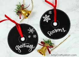 diy chalkboard paint cd ornaments for