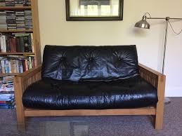 oak futon sofa bed futon company solid oak futon sofa bed with supple leather