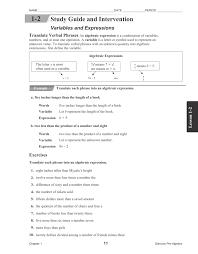 variables and algebraic expressions worksheets 3rd grade math