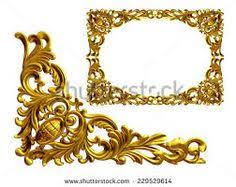 stock photo golden frame with baroque ornaments in gold for