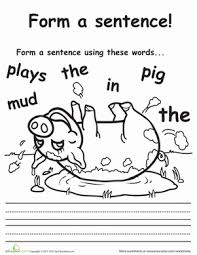 playful pig sentence building sentences pigs and what is this