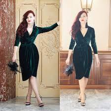 emerald green velvet evening dresses knee length charming party