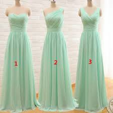 mint green pink long chiffon a line pleated bridesmaid dress 2017
