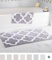 Cotton Bathroom Rugs 2 Bath Mat Set Silver European Moroccan Trellis Cotton
