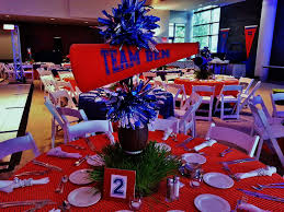 football centerpieces football party setting the mood