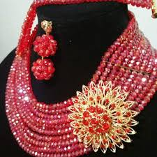 red crystal bead necklace images Sale red crystal beaded necklace set in choker 10 rows beaded jpg