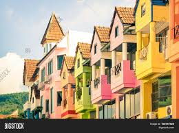 architectural detail of multicolored vintage houses in patong