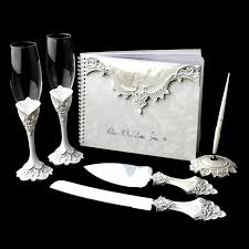 guest book and pen set lace toasting flutes cake server guestbook pen set