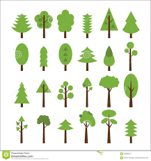 set of flat icons tree green trees icons set stock vector image