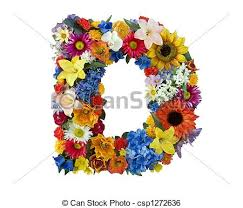 stock image of flower alphabet d letter d made of flowers
