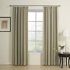 Two Curtains In One Window Twopages Rayon Polyester Blend Double Pleated Blue Stripe Jacqaurd