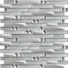 Glass Tiles Bathroom Metal Diamond Glass Mosaic Bath Wall Silver Stainless Steel Backsplash